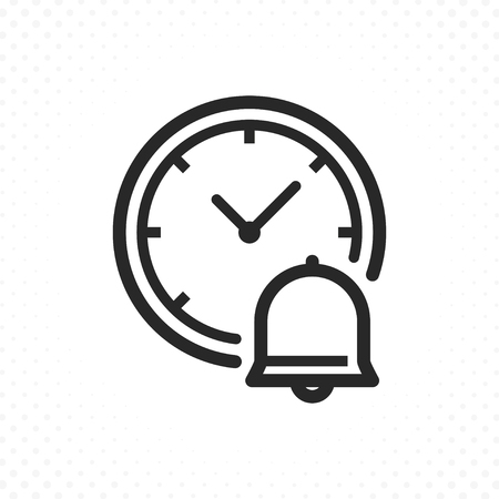 Clock and bell icon. reminder time symbol, Ringing bell clock. Clock icon in flat line style