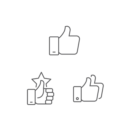 Simple set thumb up icons. Symbol of Hand like, Hand finger up sign. Thumb up gesture thin line icon