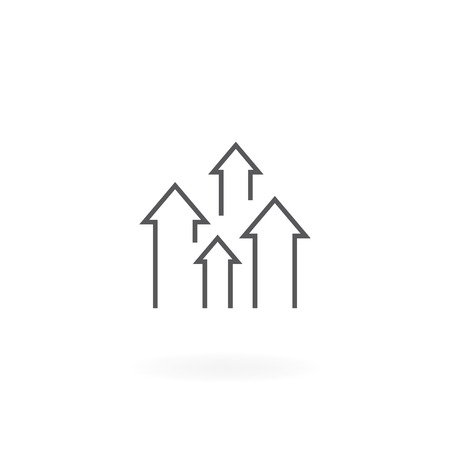 Direction arrow up icon. Growth chart icon, Upload symbol. Arrows thin line icon