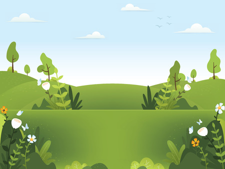 Spring background illustration. Nature green background with plants and flower. Beautiful spring scenery background