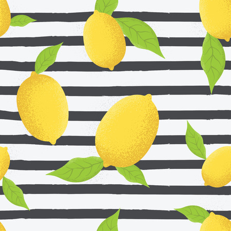 Tropical seamless pattern with yellow lemons. Fruit repeated background. Lemons with leaves seamless pattern vector illustration