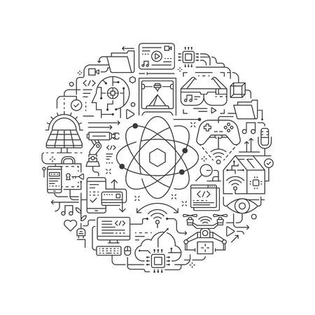 Technology concept in thin flat illustration. Future technology line icons in round shape isolated vector illustration. Round design element with technology icon - Vector