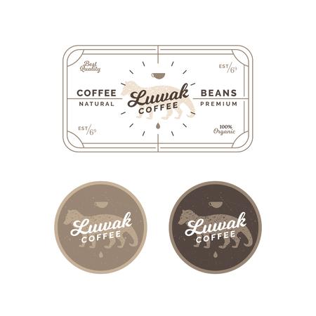Insignia y etiqueta de café Luwak. Insignia y etiqueta de café vintage. Diseño de café vector emblema. Etiqueta de café de civeta y emblema - insignia de vector Ilustración de vector