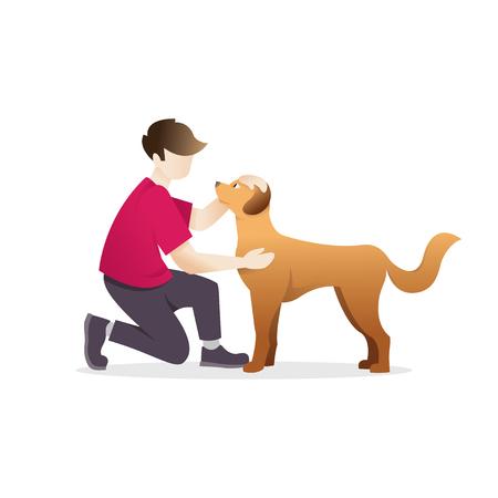 Hombre acariciando a un perro. Un joven con su amado perro sobre un fondo blanco. Hombre abrazando a un perro. Ilustración vectorial