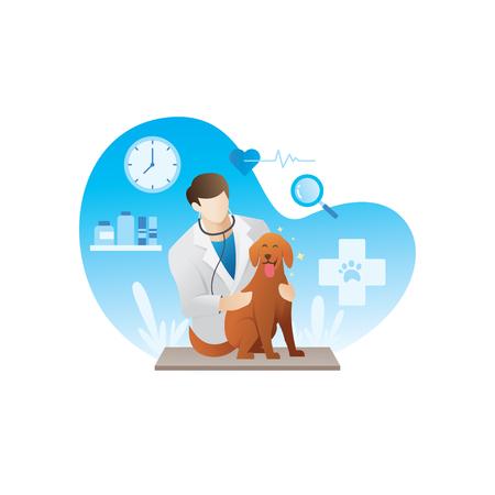 Veterinario con mascotas. Ilustración de vector de veterinario con un perro, médico veterinario examinando al perro en el hospital. Concepto veterinario - ilustración vectorial