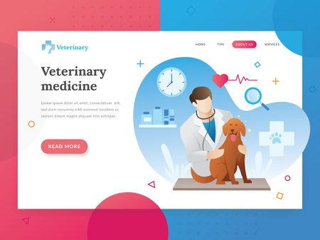 Landing page template of Veterinary. Modern flat design concept of web page design for veterinarian website. Vector illustration of A vet checks a pet. A veterinarian with a pet. Vector character Standard-Bild - 117795058