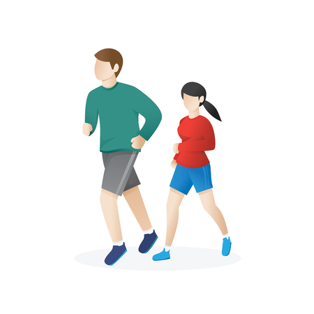 Running Man and Woman. Young man and a woman running. Man and woman in sportswear running on a white background. Jogging couple vector illustration