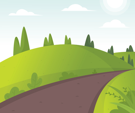 Vector illustration of beautiful fields landscape. Cartoon illustration of the road in the hills. Sunny rural landscape with hills and fields at dawn. Spring pasture, green field landscape - Vector