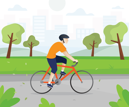 Men with bicycles in the city park. Young man cycling in public park with cityscape background. Man is riding bikes outdoors, Active men riding bicycle. Vector illustration