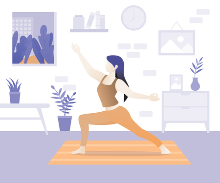 Young beautiful woman character doing yoga. Young woman in yoga posture and mediating. Girl performing aerobics exercise and morning meditation at home. Home exercises concept. Vector illustration
