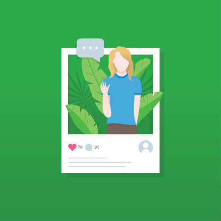 Social media illustration concept. Flat style vector illustration. Share and live streaming of social media. Concept illustration of posting in social network. Web banner illustration