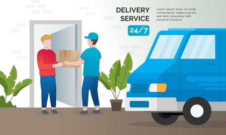 Concetto di illustrazione dei servizi di consegna. Concetto di consegna espressa, pacco di consegna a porta. Illustrazione vettoriale
