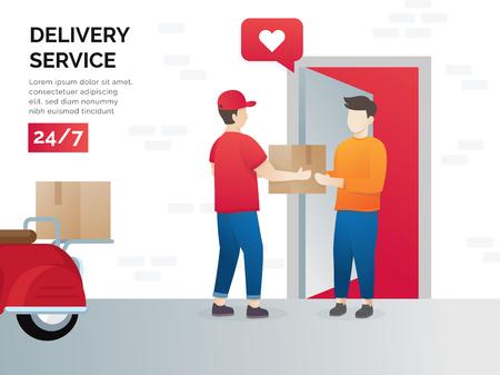 Concepto de ilustración de servicios de transporte de carga. Concepto de ilustración vectorial para servicio de entrega, comercio electrónico. Recepción del paquete de mensajería al cliente. Entrega de paquetería a domicilio. Vector