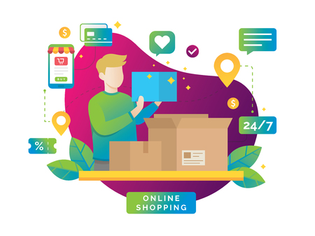 Flat vector design with e-commerce and online shopping. Express delivery, Received the order package, Open the package from online shopping. Vector illustration Stock Illustratie