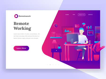 Modern flat design illustration concept of Marketing Strategy for banner and website. Freelance worker 矢量图像