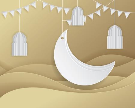 Paper graphic of Islamic decoration. Ramadan Background Islamic crescent, Crescent moon and Arabic ornate. Vector illustration Ilustração