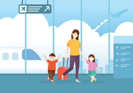 People walking in airport terminal. People at the airport, Info-graphics elements. Business travel concept. Flat vector illustration