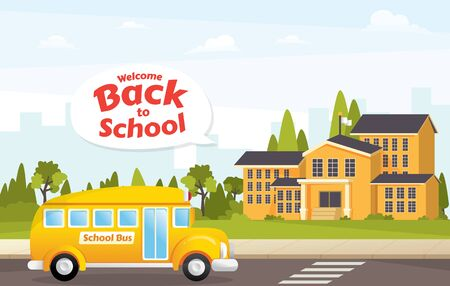 Vector illustration concept Back to school. School building and empty front yard with green grass and trees. Schoolhouse with School bus vector illustration