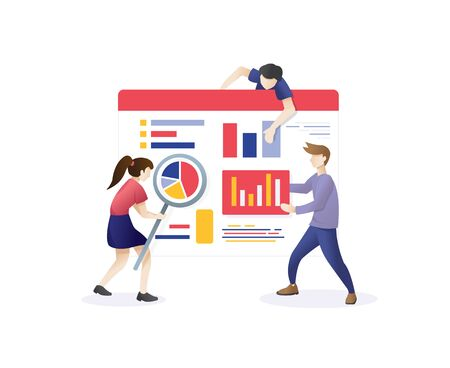 Conceptual web seo illustration. Teamwork project, web agency or young employee. concept of Seo Optimization for website and mobile website