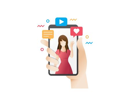 Video watching concept illustration. Hand holding smart phone, live streaming, Video call - vector illustration