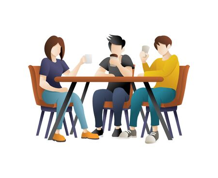 Friends sit in cafe, Meeting, Drink coffee. A group of friends having dinner. People eating and talking in restaurant Illustration