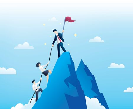 Concept business and success. Leader helps the team to climb the cliff and reach the goal. Business concept of leadership and teamwork Çizim
