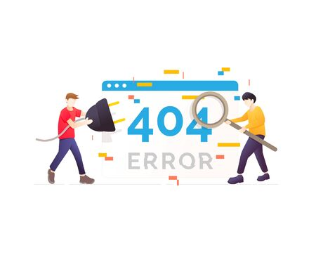 System maintenance, System updates, Uploading, Operation, Computing, Installation programs. Flat vector illustration modern character design. Website page error illustration
