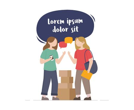 People talking and thinking. young woman learns to do business with her friends. Brainstorm illustration for your design. Flat style, vector illustration