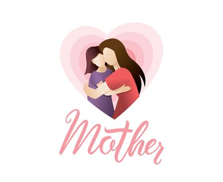 Vector illustration of mother holding baby girl in arms. Happy mothers day card. Happy mother's day greeting card