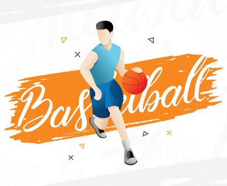 Cool basketball player in uniform with the ball. Sports concept illustration. Vector illustration