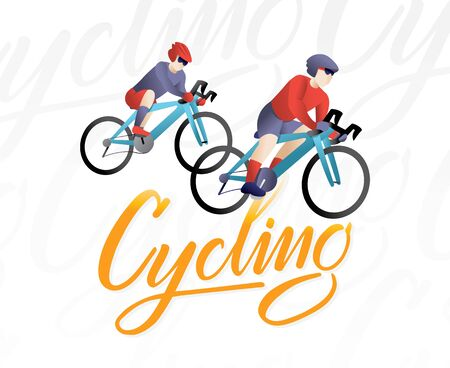 Sports and leisure outdoor activity. Bicycle racing, Cyclist riding on bicycle. Cyclist vector illustration