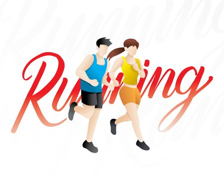 Jogging people,Runners group, People runner race. Training to marathon, jogging and running illustration. Vector illustration