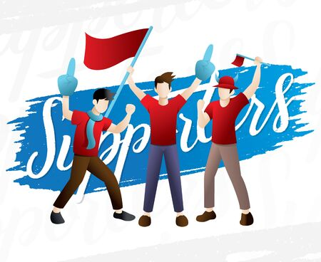 A group of people supports athletes. Group of sport fans in red outfit with flags supporting their team vector Illustration Archivio Fotografico - 129831848