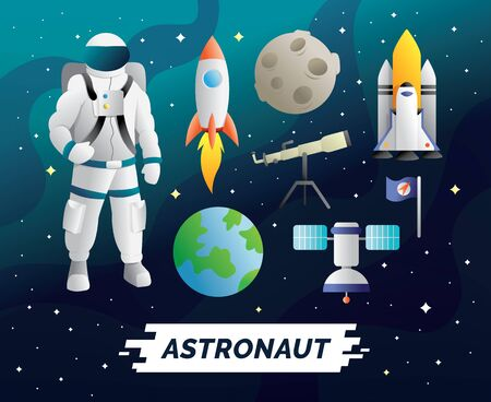 Outer space design elements. Character of astronaut with rocket, satellite, moon, earth. design vector element