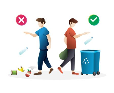 Person disposed improperly throwing away garbage. Vector illustration