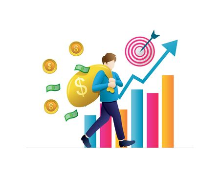 Someone brings investment returns with a dollar symbol. Return on investment in finance and marketing, business analysis and cooperation. Vector illustration