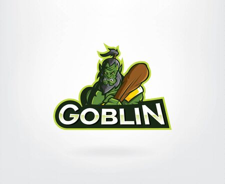 Goblin slayer suitable for e-sport or gaming logo. Vector illustration Illusztráció