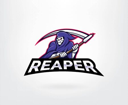 Grim reaper esport gaming mascot logo template. Angel of death esport gaming mascot logo template. Vector illustration Vettoriali