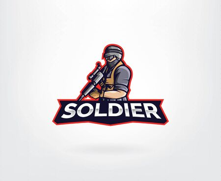Player mobile gaming mascot logo vector. Military vector logo template