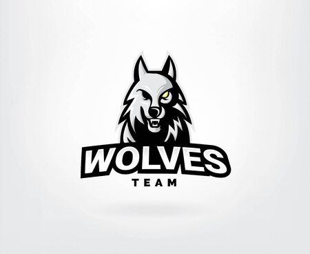 Professional wolf logo for a sport team. Wolves logo mascot sport illustration. Modern vector illustration template Illusztráció