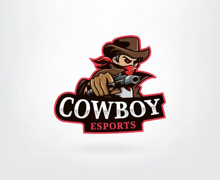Cowboy in red bandana with revolver. Logo design for E-Sport team, tournament, league or mascot. Vector illustration  イラスト・ベクター素材