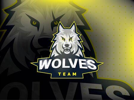 Professional wolf logo for a sport team. Wolves logo mascot sport illustration. Modern vector illustration template Stock Illustratie