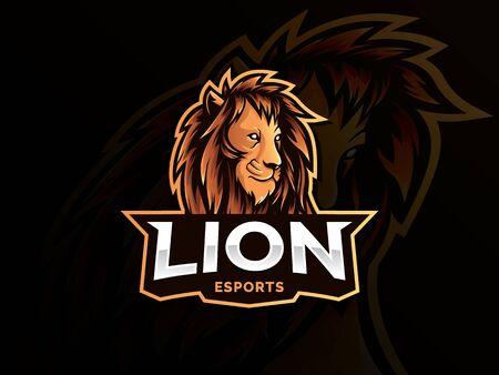 Modern lion face logo, Lion head mascot. Creative animal head emblem for eSports team. Vector illustration