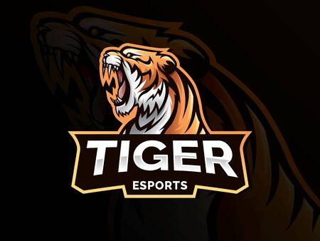tiger animal mascot head vector illustration logo. Wild cat head mascot, Tiger head emblem design for eSports team. Vector illustration