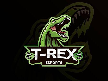 Logotipo deportivo de la mascota de T-Rex Head. T Rex Head mascota deportes emblema ilustración con la mano. Logotipo y mascota de Tyrannosaur para el equipo de eSport. Plantilla de logotipo deportivo