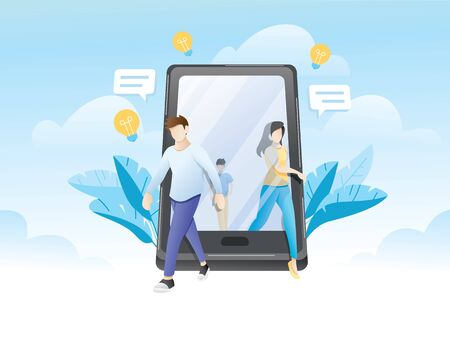Influencer marketing, social media or network promotion. Flat vector illustration for internet advertisement