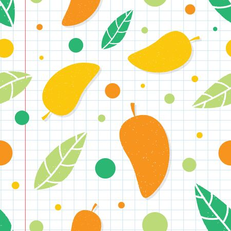 Mango seamless pattern background. Mango fruit graphic seamless pattern Archivio Fotografico - 130666732