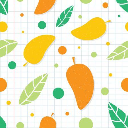 Nahtloser Musterhintergrund der Mango. Nahtloses grafisches Muster der Mangofrucht