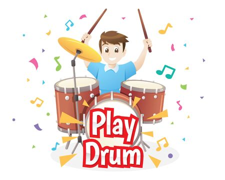 Young boy playing drums on white background. Musical children's performance. Vector illustration in cartoon style