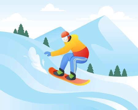 Vector illustration of snowboarder. Winter sport and recreation, Winter mountain sports activities